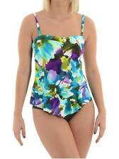 New with Tag-$150.00 Miraclesuit Black Tropical Asymmetric Tankini Suit Size 10