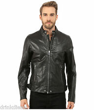 SALE MENS DIESEL LEATHER JACKET BLUE BLACK SIZE LARGE NAME REED BUY NOW £199.99