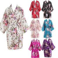 Women Short floral Robe Dressing Gown Bridal Wedding Bride Bridesmaid Kimono2018