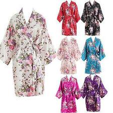 Women Short Floral Robe Dressing Gown Bridal Wedding Bride Bridesmaid Kimono HOT