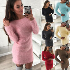Womens Ladies Fluffy Sweater Mini Jumper Dresses Spring Bodycon Party Dress
