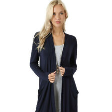 Womens Winter Buttons Long Open Front Trench Coat Jacket Outwear Ladies Parka US