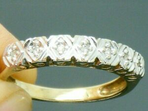 9ct Gold 0.10ct Diamond Hallmarked Eternity ring size J