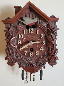 Antique Lux Small Novelty Cuckoo Clock Waterbury Conn Working w Key Bluebird