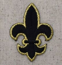 Medium Black/Gold Fleur De Lis/Saints Iron on Applique/Embroidered Patch