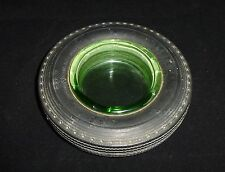 Vintage Seiberling Tire Shaped Ashtray With Vaseline Glass Insert