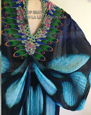 SALE! CAMILLA FRANKS KAFTAN DESIGNER DRESS  SILK RESORT CRUISE HOLIDAY JADE OS