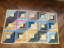 """Homemade Log Cabin Baby Quilt Approx 23.5"""" w 38.5""""L Multi coloured Boy or Girl."""