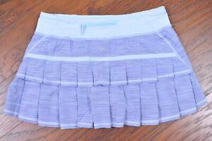 Lululemon Pace Setter Skirt Caspian Blue Stripe Women's 8
