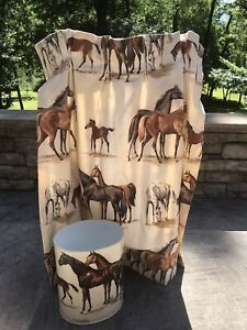 Pair of Vintage Horse Curtain Panels with matching Waste Can