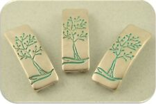 2 Hole Beads Tree of Life Engraved Bars ~ Aqua ~ Burnished Silver Sliders QTY 3