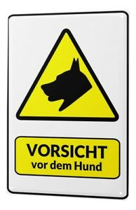 Tin Sign Warning sign Beware of the dog symbol in black and yellow triangle