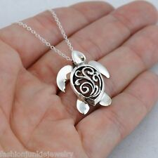 3D Sea Turtle Necklace - 925 Sterling Silver - Filigree Pendant Ocean *NEW*
