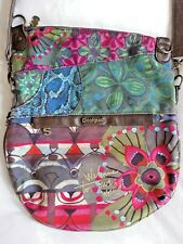 Desigual Pink Green Blue Brown Multi Floral Fabric Shoulder Bag