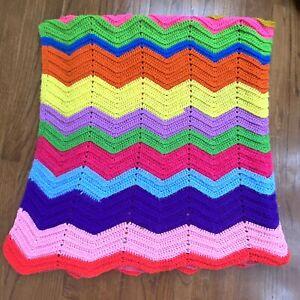 Vintage Crochet Blanket Handmade Chevron Afghan Throw Zig Zag Boho Gift Rainbow
