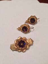Vintage Antique Victorian Gold Filled Amethyst Brooch & Earrings