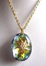 pendentif chaîne bijou vintage coul or goutte verre taillé boréalis fleur * 3405