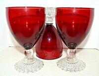 Anchor Hocking Ruby Boopie Bubble Base Goblets Water Glasses Set of 3 Red MCM