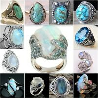 Antique 925 Silver Turquoise Moonstone Ring Women Man Wedding Jewelry Party Gift