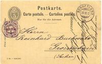 "SCHWEIZ ""SCHÖFTLAND"" seltene K2 1892 5 (C.) schwarz GA-Postkarte m. 5 (C.) lila"