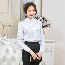 Women Ruffle Collar Shirt Chiffon High Neck Button Frill Victorian Blouse Top