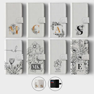 Tirita Personalised Wallet Flip Case for iPhone 12 11 SE 8 Floral Initial Gold