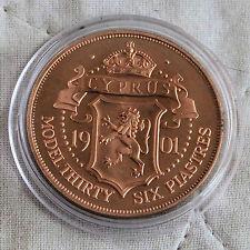 Cipro 1901 regina Vittoria a prova di rame modello modello 36 PIASTRES