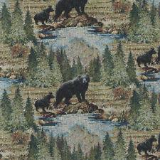 UPHOLSTERY FABRIC BRADLEY BEARS LODGE CABIN RUSTIC TREES FURNITURE BEAR CUBS