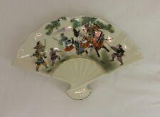 JAPANESE CERAMIC signed SHOGUN Decorative Fan shaped Dish Samurai Battle scene