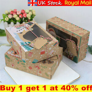 3/12X Christmas Candy Cookie Gift Boxes Cupcake Dessert Box with Window&DIY Tags