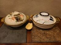 VINTAGE JAPANESE SOUP BOWL SET WITH LIDS & 1 SPOON Santo Yokkaichi