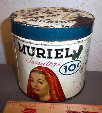 "Round Vintage Muriel Senators Cigar Tin ~ ""air way tip 10 cent"", Great graphics"