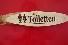 """Rinde Holz Schild lasergravur """"Toiletten"""" WC"""