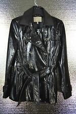 Banna Republic Women's Black Double Breasted  Patent Leather Jacket Coat Size S