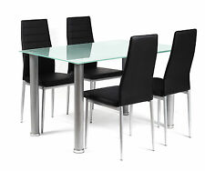 Dining Table Set Frosted Glass Top Four Black Chairs