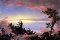 """Oil painting Frederic Edwin Church - Above the Clouds at Sunrise landscape 36"""""""