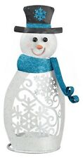 Snowman Candle Holder-Metal-Holds Large Candle or Flameless Candle (not included