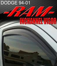 Smoke 1994-2001 Ram Pick Up InChannel Window Visor Vent Rain/Sun/Wind/Snow Guard