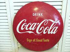 "Coca Cola 16"" Round Sign 1950s Metal Not Porcelain Coke Vintage Original Rare"