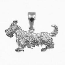 Sterling Silver SCOTTISH TERRIER DOG 3D Solid Pendant / Charm, Made in USA