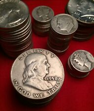 1 + TROY oz ounce 90% SILVER U.S. Coin Lot pre-1965 Bullion Coins *FREE COIN!*
