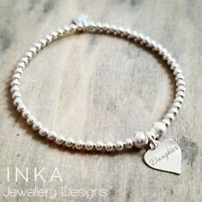 Inka 925 Sterling Silver stretch beaded Stacking Bracelet with a Daughter charm