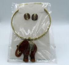 New Elephant Trunk Up Necklace w/ Pendant Earrings Fashion Jewelry Set Elephants