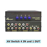 E32C 4*Weg Audio Video AV RCA Switch Selector Box Splitter Umschalter 3RCA Kabel