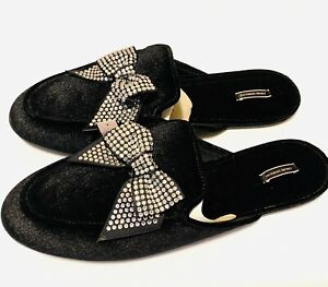 Victoria's Secret Rhinestone Bow Closed Toe Velvet Slide Slippers Black L 9/10