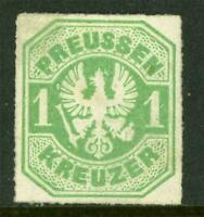 Germany 1867 Prussia 1 Kr Yellow Green Roulette 11½ SG #41 Mint J880 ⭐⭐⭐⭐⭐