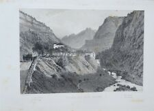Lithography Original in two Tone - Entrance of Eaux Massage - Pyrenees - 1850