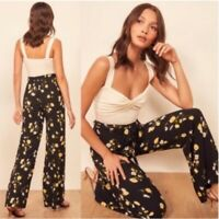 Reformation Starry Pant Floral Piazza Pants Size 0 Black