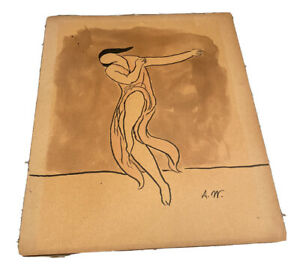 Abraham Walkowitz Untitled Isadora Duncan Dancing Watercolor and Ink On Paper
