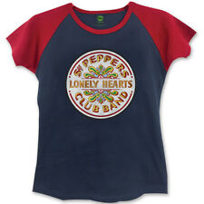 The Beatles Ladies Fashion Tee: Sgt Pepper with Skinny Fitting - Blue,Red